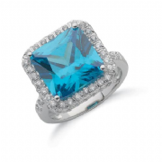 Sterling silver Blue Zircon and clear Cubic Zirconia Statement ring